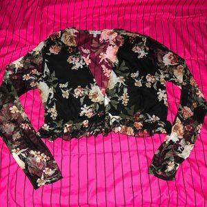 Charlotte Russe Sheer Floral Crop Top